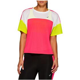 asics Style Maillot manches courtes zippé Femme, laser pink/brilliant white